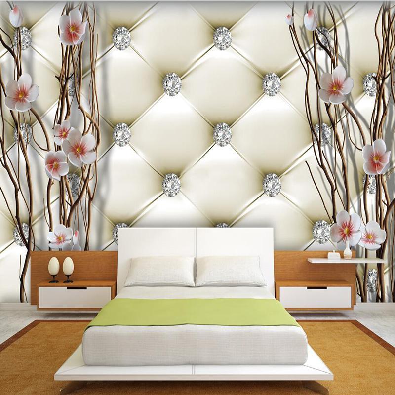 Custom 3D Mural Wallpaper European Style 3D Stereo Relief Diamonds Plum  Soft Pack Photo Wallpaper Bedroom Landscape Design Mural