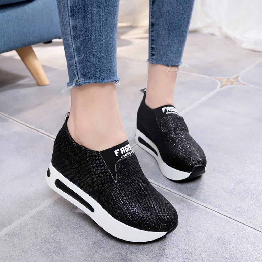 4c127aec249 Compre Sagace Shoes Moda Mujer Zapatos Planos Gruesos Inferiores Solos  Resbalones En Los Tobillos Plataforma Ocasional Deporte Nuevo Zapatos Mujer  2019feb8 ...