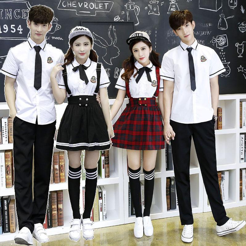 525c4af7596 2019 Korean School Uniform Girls Jk Navy Sailor Suit For Women Japanese School  Uniform Cotton White Shirt + Plaid Straps Skirt C18122701 From Shen8407
