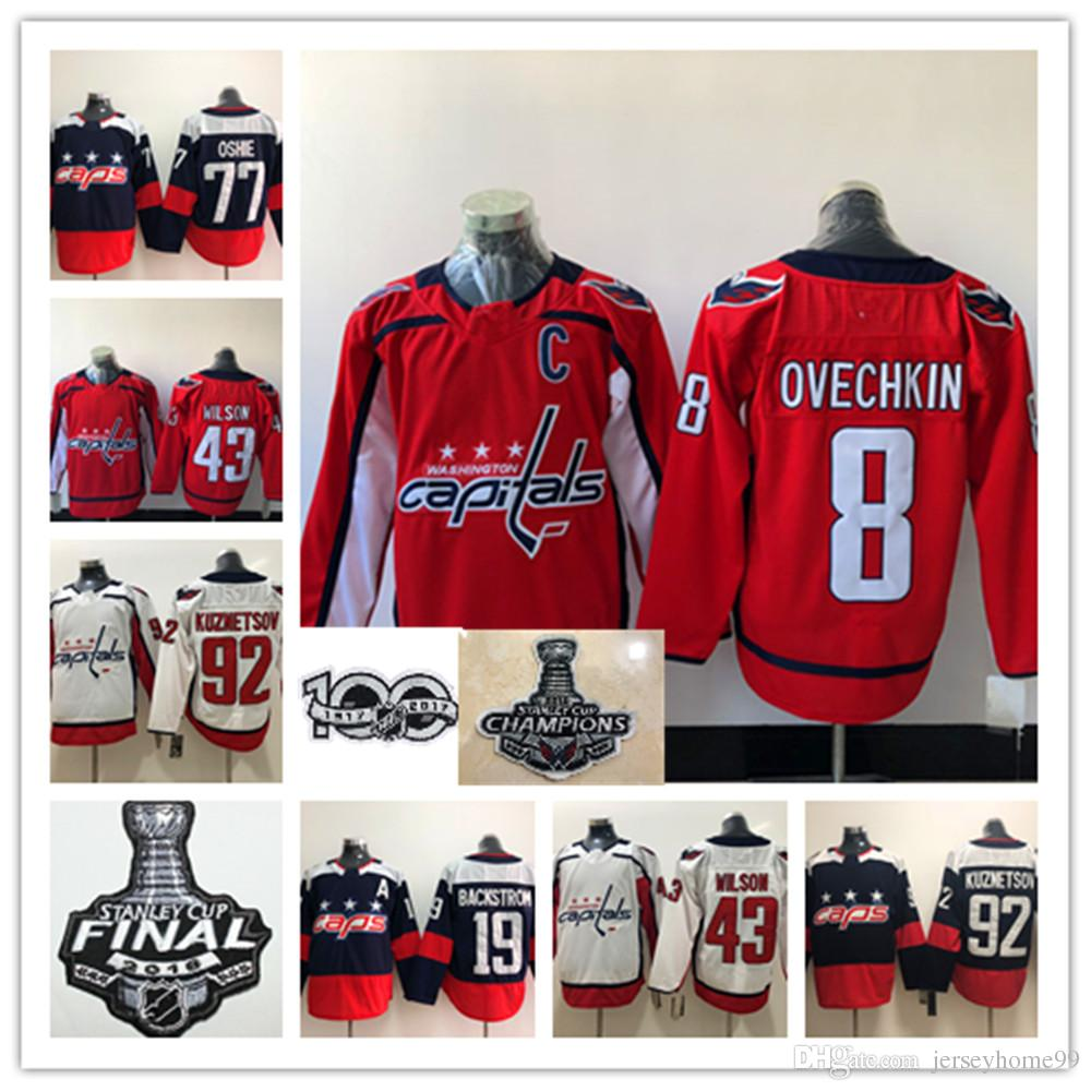 huge discount c7c90 19844 18-19 Stanley Cup Champions Washington Capitals Hockey Alex Ovechkin  Jerseys Nicklas Backstrom TJ Oshie Braden Holtby Tom Wilson Kuznetsov
