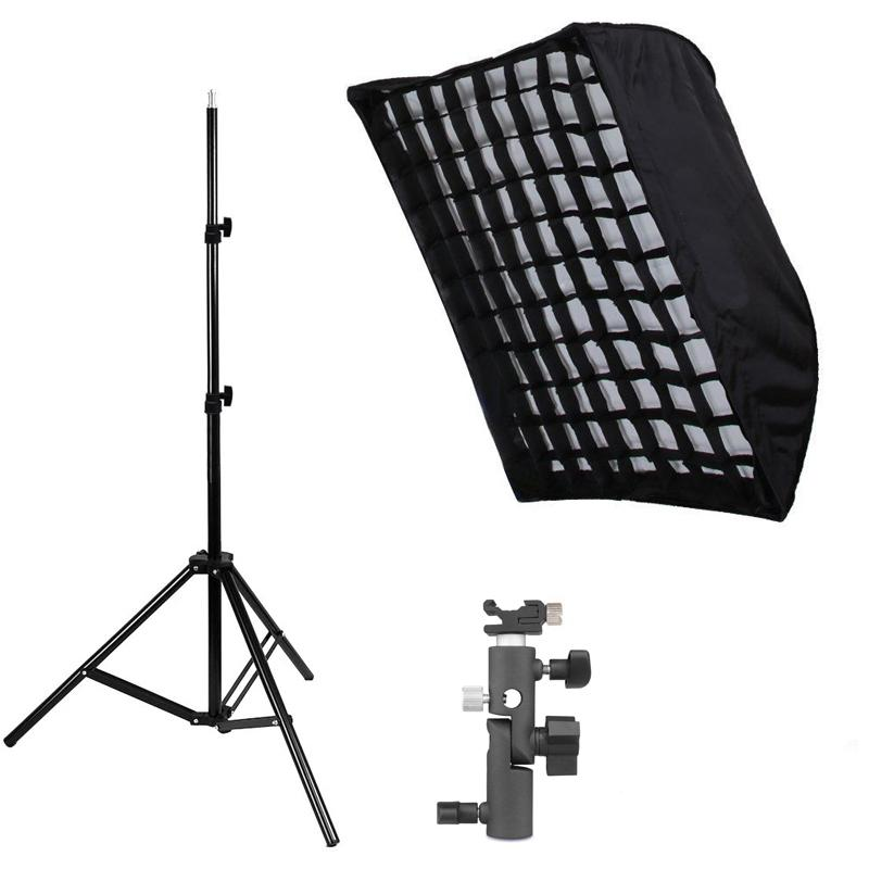 "Photography Studio Softbox kits 50*70CM/19.7""x27.6"" Umbrella Softbox Diffuser Reflector+Gird+200CMLight Stand+Flash Shoe Holder"
