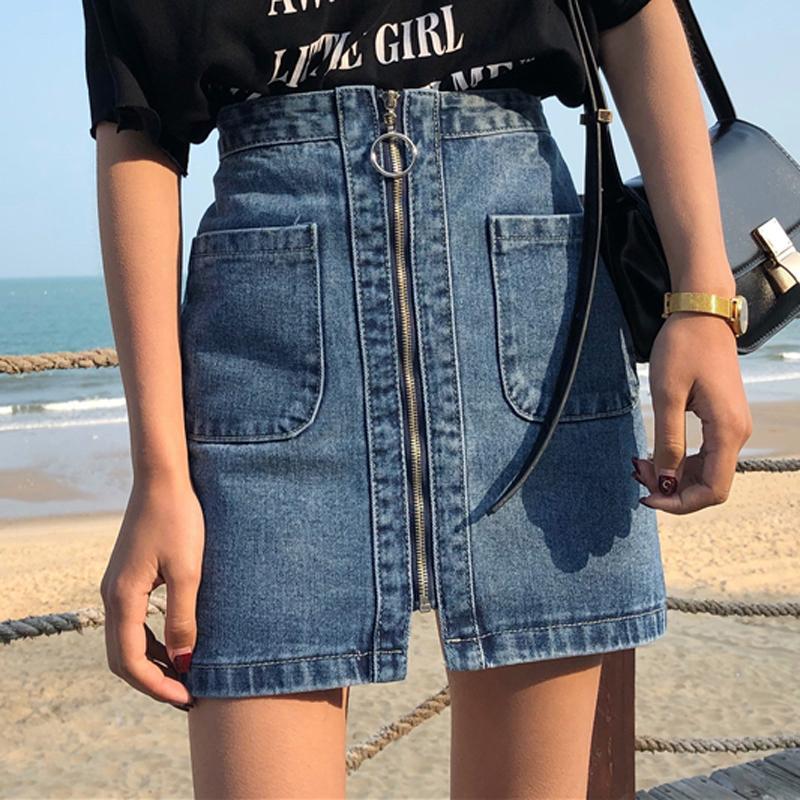 7855a4868db75 Vintage High Waist Denim Women Mini A Line Skirts Female Summer Jean Skirt  Fashion Zipper Saia Jeans Faldas Mujer Moda C19041602
