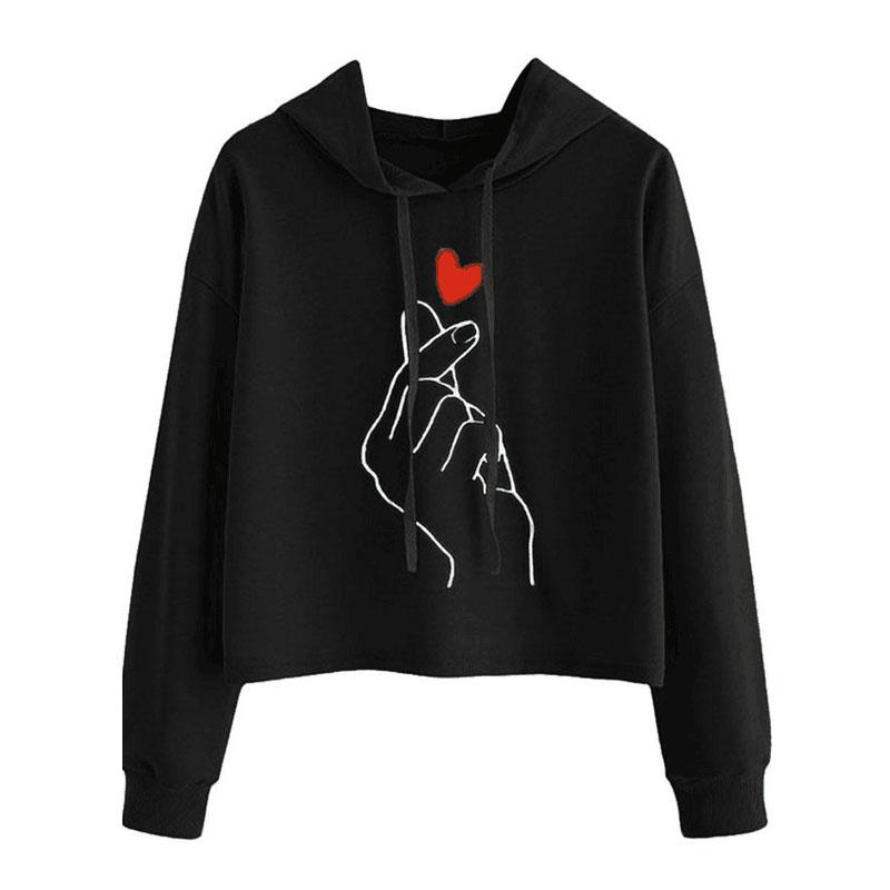 Bts Crop Top Hoodie Heart Finger Women Sweatshirts Hoodies Harajuku Kawaii Love Heart Crop Top Sweatshirt Kpop Bts Hoodies Tops