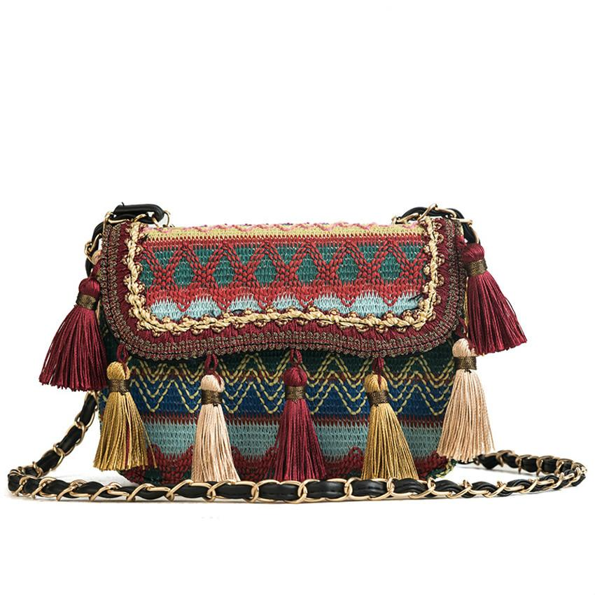 0c2b4531d5 Acquista 2019 Primavera Ricamo Nazionale Donne Crossbody Borse Vintage  Catene Nappa Spalla Messenger Bag Signore Etniche Maglieria Giorno Serale  Cltuch A ...