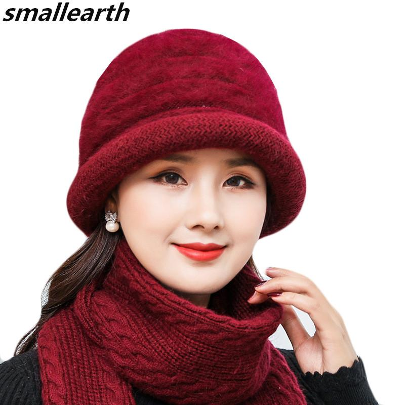 New Winter Women Rabbit Fur Hat Scarf Set Lady Warm Wool Knitted Hat Scarf  Sets Thick Crochet Bonnet Mom Caps Shawl Gifts Knit Cap Slouch Beanie From  ... 3647b188a288