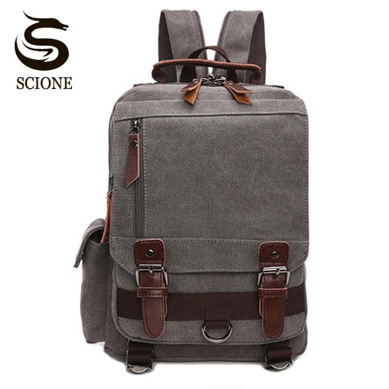 Scione Small Canvas Backpack Men Travel Back Pack Multifunctional Shoulder  Bag Women Laptop Rucksack School Bags Female Daypack Bookbags Backpack Purse  From ... c997ec72c64dd