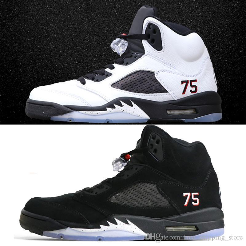 more photos ca7b1 f4b2a Acheter Avec La Boîte 5 5s PSG Chaussures De Basket Pour Hommes PARIS SAINT  GERMAIN Noir Blanc Avec Des Baskets De Mode Pour Hommes 3M De  91.38 Du ...