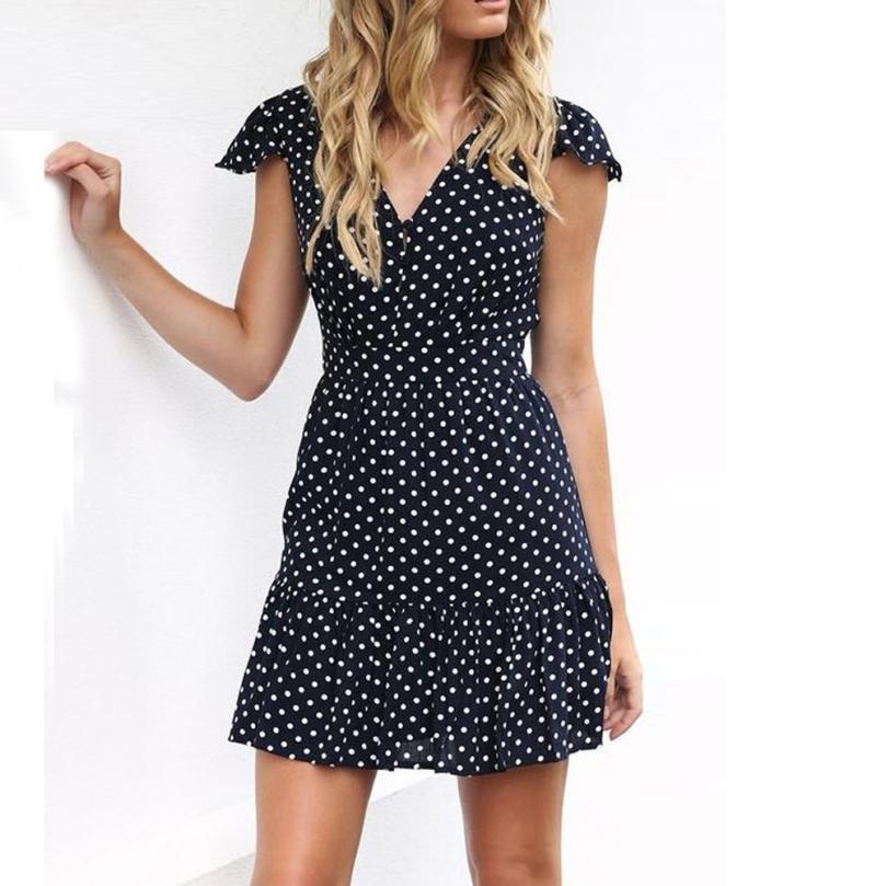 Feitong Women Dress 2019 Summer Dot Printed Ruffles Dress V Neck Button  Casual Loose Beach Mini Dress Vestidos Online with  35.04 Piece on  Stephanie06 s ... 76294629cf93