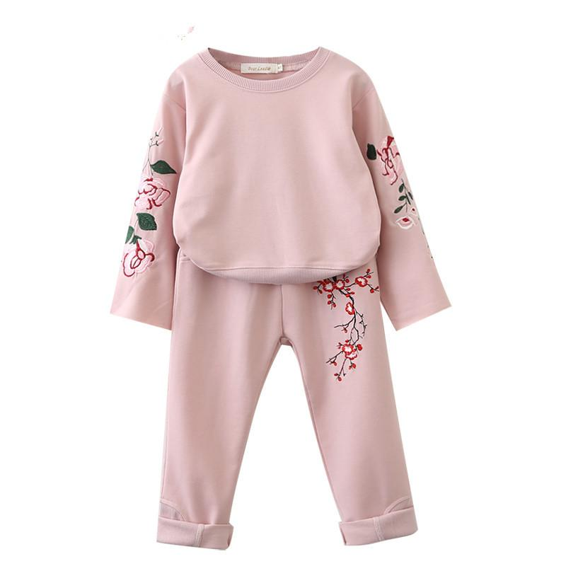 2017 Autumn kids suit clothes girl embroidery clothes top+pant set 2 pieces children long sleeve clothes suit