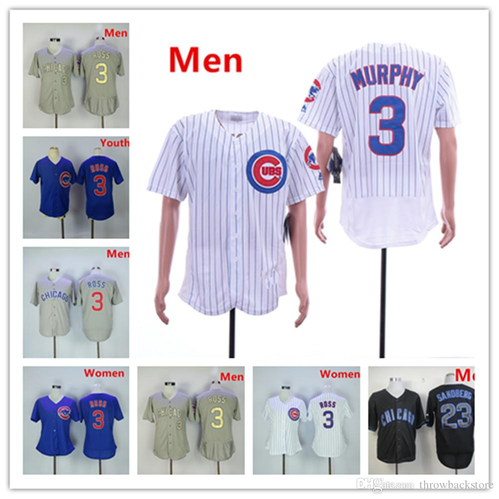 huge discount 8188e 2457f Chicago 23 Ryne Sandberg Jersey Cubs 3 David Ross White Blue Grey 2017 Gold  Program Baseball Jerseys
