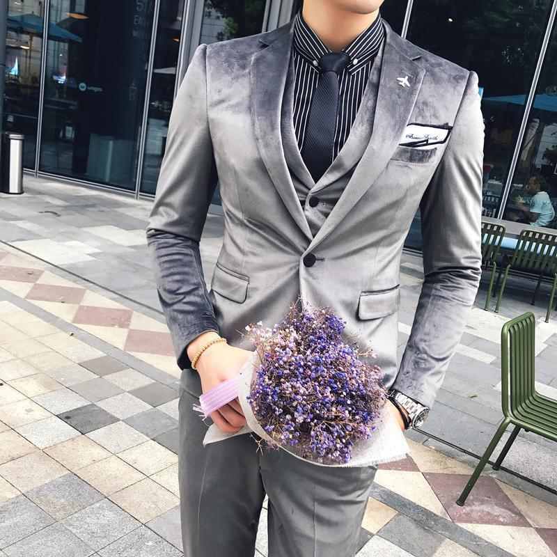 Crazy2019 Pop Winter Suits Mens British Style Suits Mens Velvet Slim Fit 3 Piece Set Wedding Formal Dress Black Tuxedo Patry Club