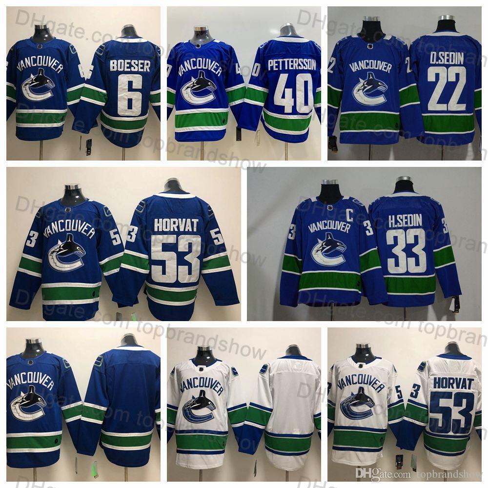 2019 Vancouver Canucks Jersey 33 Henrik Sedin 22 Daniel Sedin 53 Bo Horvat  6 Brock Boeser 40 Elias Pettersson Blue White Stitched Hockey Jerseys From  ... b7398091f