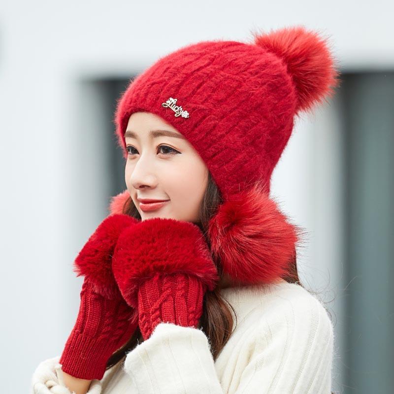 51b2f0b1dfc 2019 New Women Rabbit Hair Knitted Hat Gloves Set Warm Thick Skullies Hat  Big Fur Pom Pom Ski Cap Winter Beanie Caps For Girls Black Baseball Cap  Knitted ...