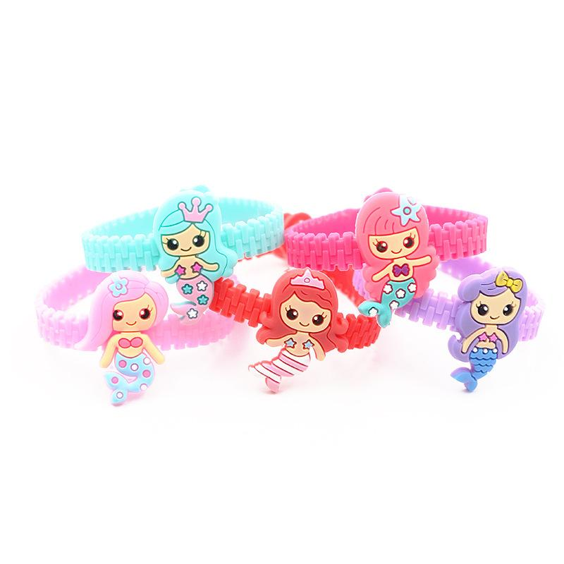 iYOE Flamingo Mermaid Unicorn Pulsera Brazaletes Para Niños de Dibujos Animados Encantador Animal Charm Pulseras Wrap PVC Niños regalos de Navidad