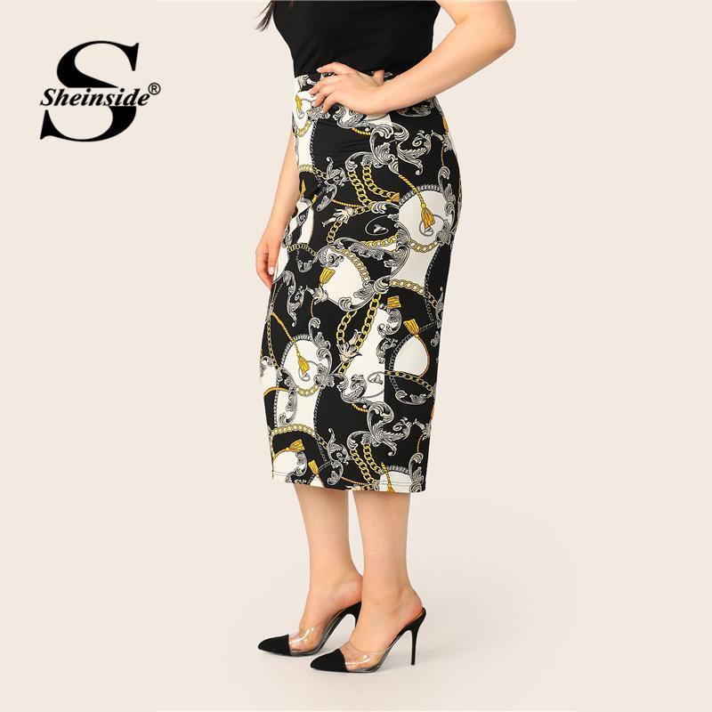 03dca2e93c6b63 2019 Sheinside Plus Size Chain Print Skinny Skirt Women 2019 Summer ...
