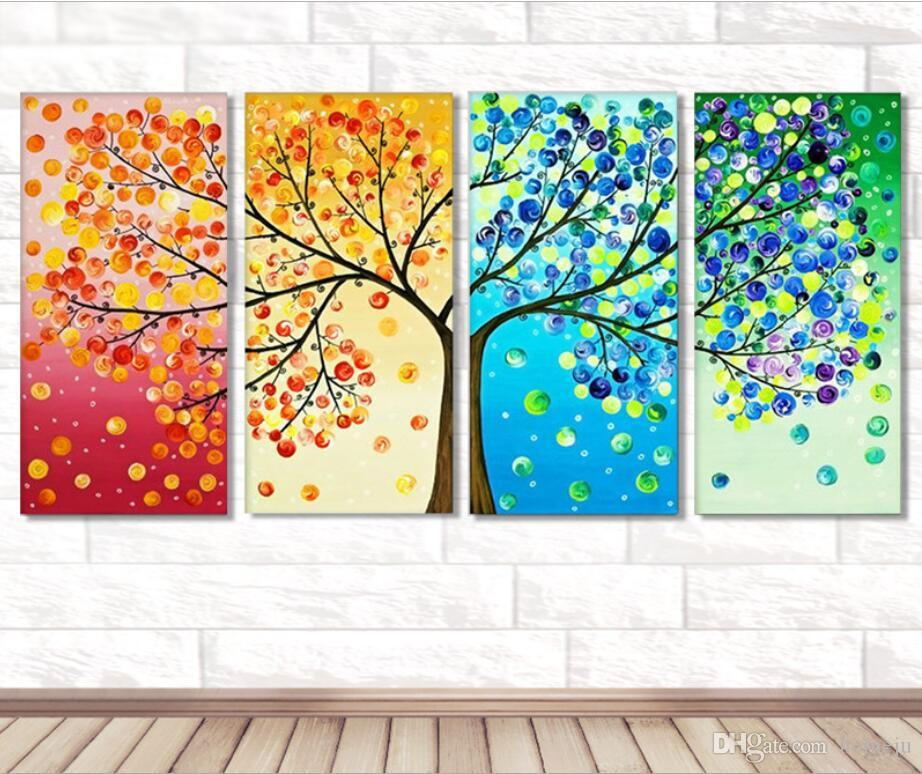 40*80 cm 5d New DIY Cube Four Diamond Painting Four-color Tree Full Diamond Diamond Painting Home Decorative Paintingi