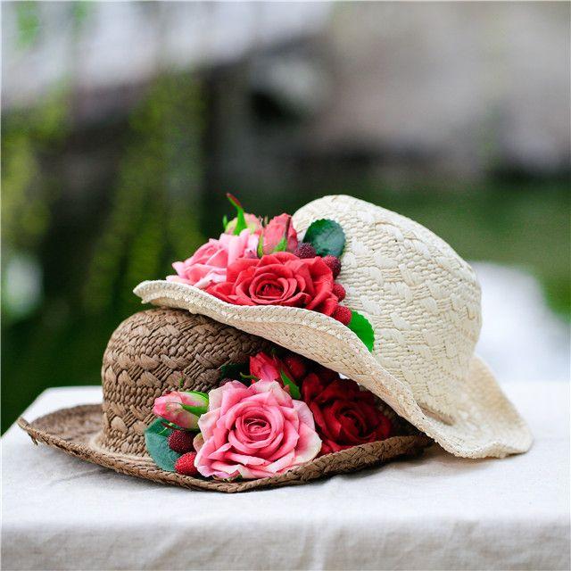 da826052c01b7 Handmade Straw Sun Hats For Women Vintage Flower Summer Beach Travel ...