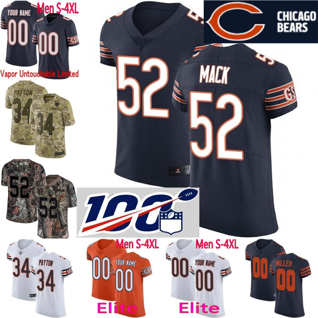 ae720d3c10a 2019 100th Season Custom Men Youth Women Chicago 52 Khalil Mack ...