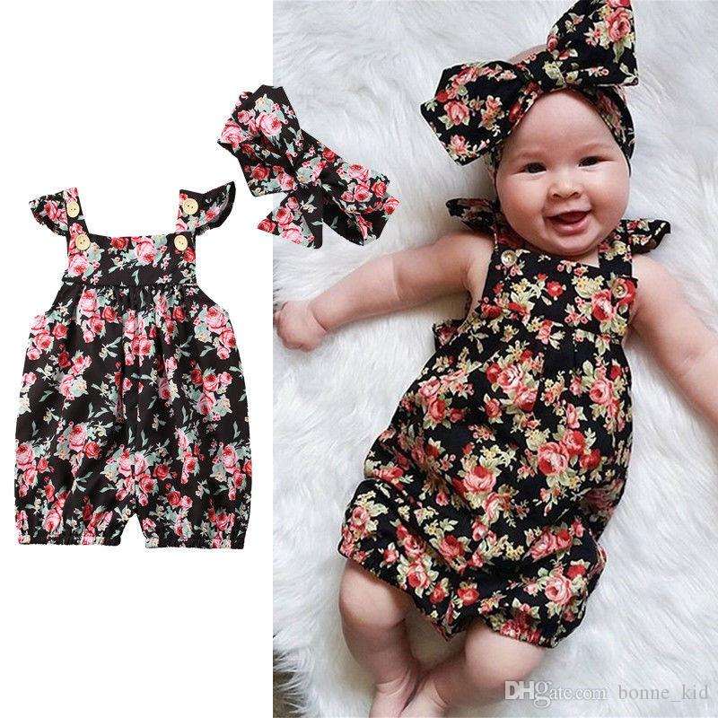 e27853e3fef9 2019 Summer Baby Girl Floral Toddler Rompers Jumpsuits With Headband Newborn  Baby Girl Flower Bodysuit Sunsuit Baby Clothing 0 24M From Bonne kid
