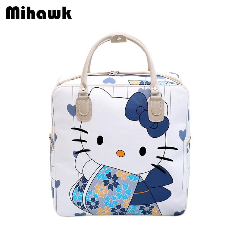 ece198cb7 Compre Mihawk Cuero De La PU Hello Kitty Cat Bolsas De Viaje De Las Mujeres  Bolsa De Equipaje Linda Del Hombro Ropa De Las Niñas Duffel Tote Accesorios  ...
