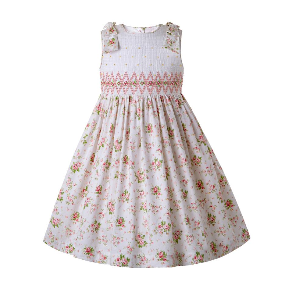 8de171dbbb697 Pettigirl Girls Flower Print Smocked Dress With Bow Girl Boutique Clothes  Children Clothing G-DMGD204-A292