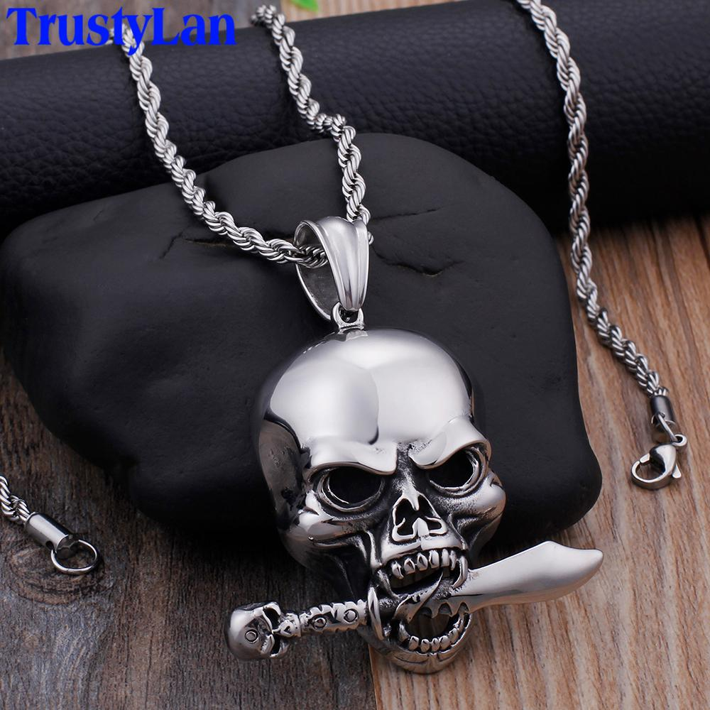 4d9a9194e8949 Personality Hiphop Rocker Skull Pendant Necklace For Men Jewelry Stainless  Steel Best Friends Ghost Necklaces & Pendants 2019