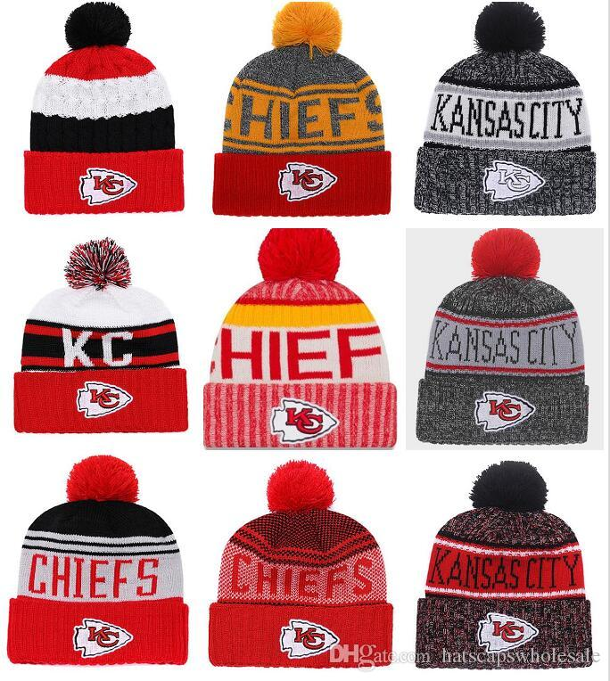 2019 Wholesale New Pom Poms Men Women Winter Hats Sports KC Chiefs Beanies  Fashion Knitting Hat Embroidered Logo Brand Thick Female Warm Caps From ... d4f22dd4746