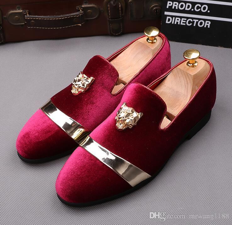 29833b18b New Fashion Men Shoes Party Wedding Shoes Handmade Loafers Men Velvet Shoes  with Tiger Gold Buckle Men Dress Shoe Men's Flats size:39-44