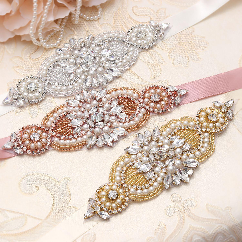 MissRDress Bridal Sash Belt Silver Crystal Pearls Rhinestones Beads Ribbons Wedding Belt Sash For Women Normal Dress YS845