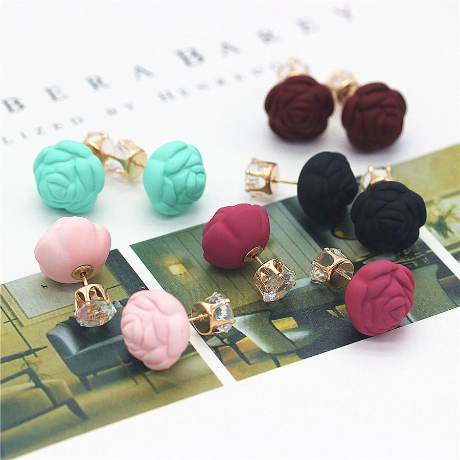 Fashion Jewelry Rose Flower Crown Double Ball Stud Earring Gold Cheap Ladies Earrings Best Cute Gift For Woman New Wholesale