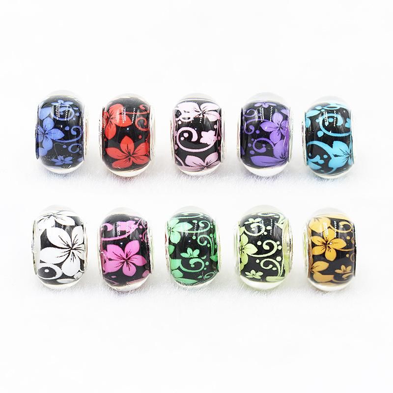 20pcs Round Skull Big Hole European Resin Glass Beads Fit Pandora Bracelet Chain Boho Necklace For Jewelry Making Accessories Moderate Price Beads