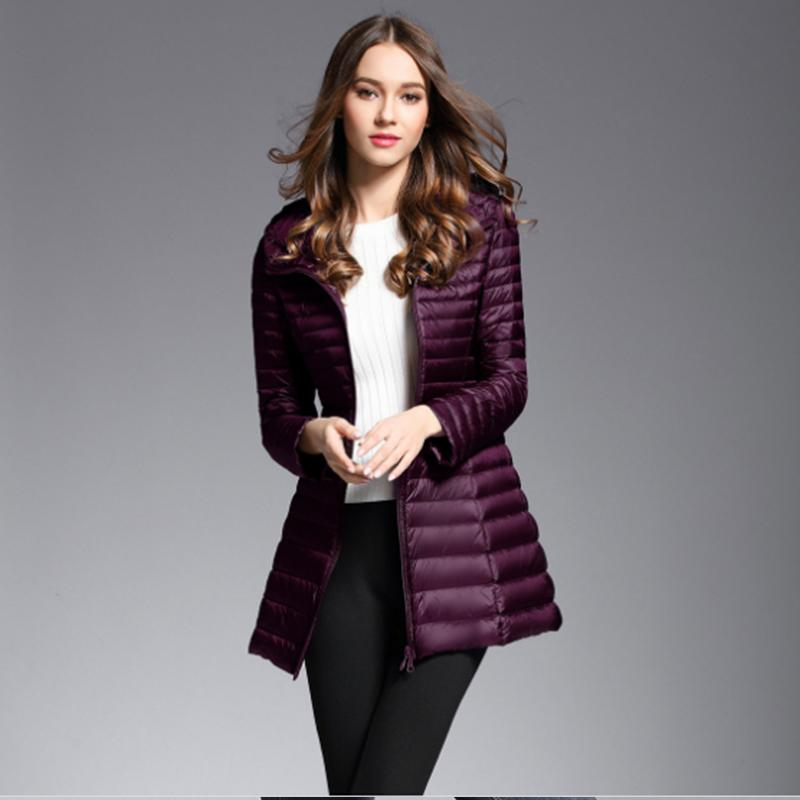 48532b191d304 2019 Navy Red Purple Black Winter Plus Size Womens Long Down Jackets Ultra  Light Duck Down Coat Puffer Jacket Slim Autumn Parkas Lady From Baicao