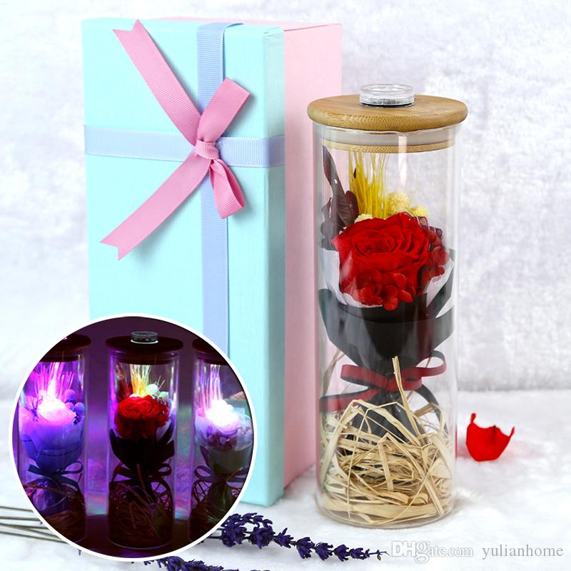 3056947141032 Preserved Rose LED Lights Decoration Real Natural Fresh Handmade Never  Withered Rose Preserved Flowers in Glass Jar Gift for Valentine