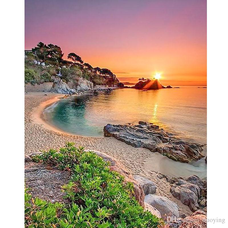 Sunsets Natural Sea Beach Landscape Posters and Diy diamond Painting Art Poste Panorama Scandinavian Wall Art Picture for Living Room