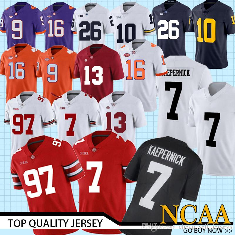 info for 210af d8242 NCAA 7 Dwayne Haskins Jr. jersey 97 Bos Ohio State Buckeyes 16 Trevor  Lawrence 9 Travis Etienne Jr. College Football jerseys 13 Tagovailo