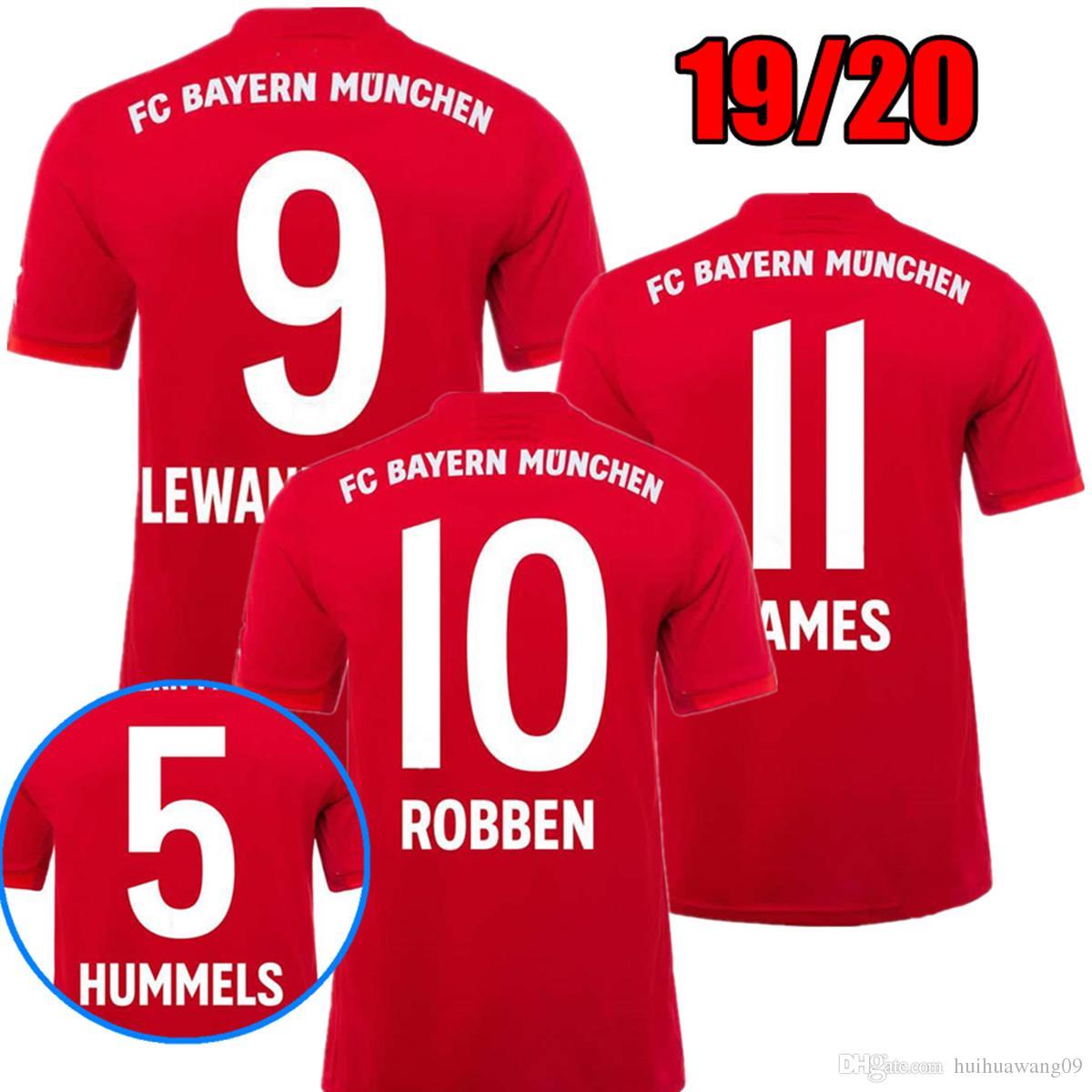 864b44b29e Compre 19 20 Bayern De Munique JAMES Camisa De Futebol LEWANDOWSKI MULLER  KIMMICH 2019 2020 HUMMELS Uniformes De Camisa De Futebol Campeões De  Distância 3ª ...