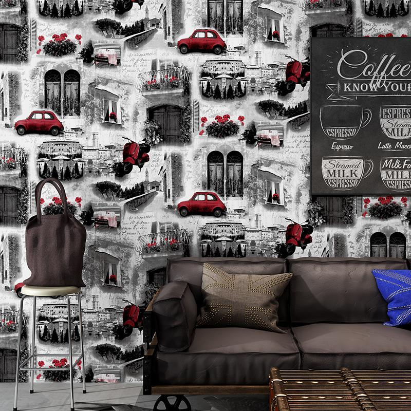 Building Vintage Industrial Wall Papers Home Decor Personalized Red Car Wallpapers Roll For Shops Bar Walls Mural Contact Paper