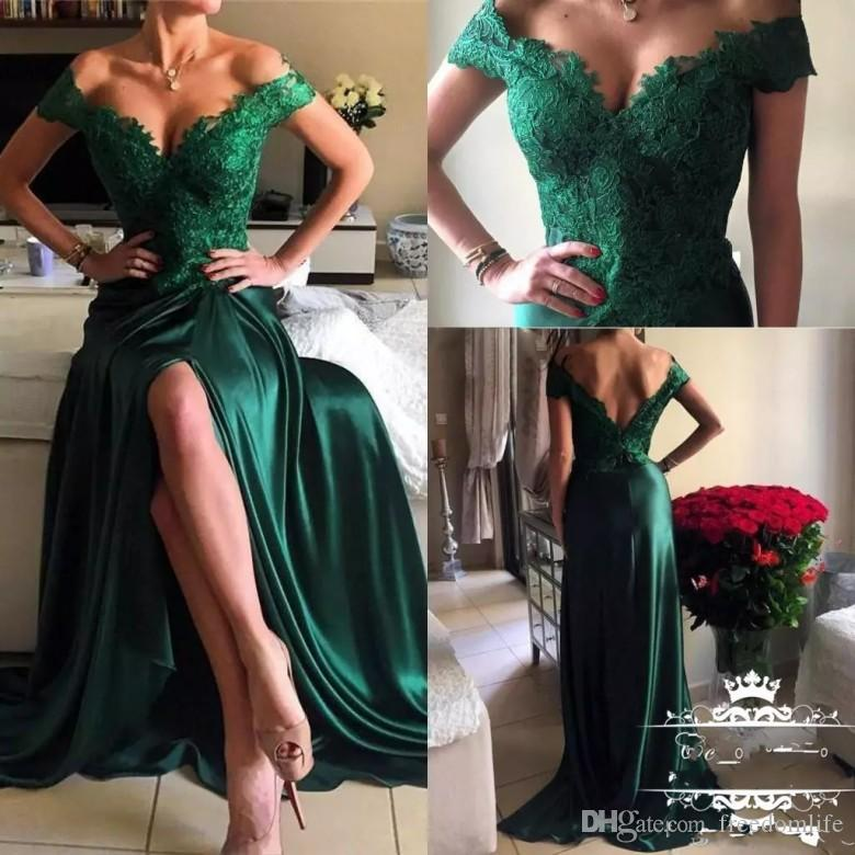 de6215619851f Sexy Slits Off Shoulder Dark Green Prom Dresses 2019 New Lace Party Gowns  Deep V Neck Low Back Cheap Cocktail Dress Evening Wear Prom Dresses For  Kids Prom ...