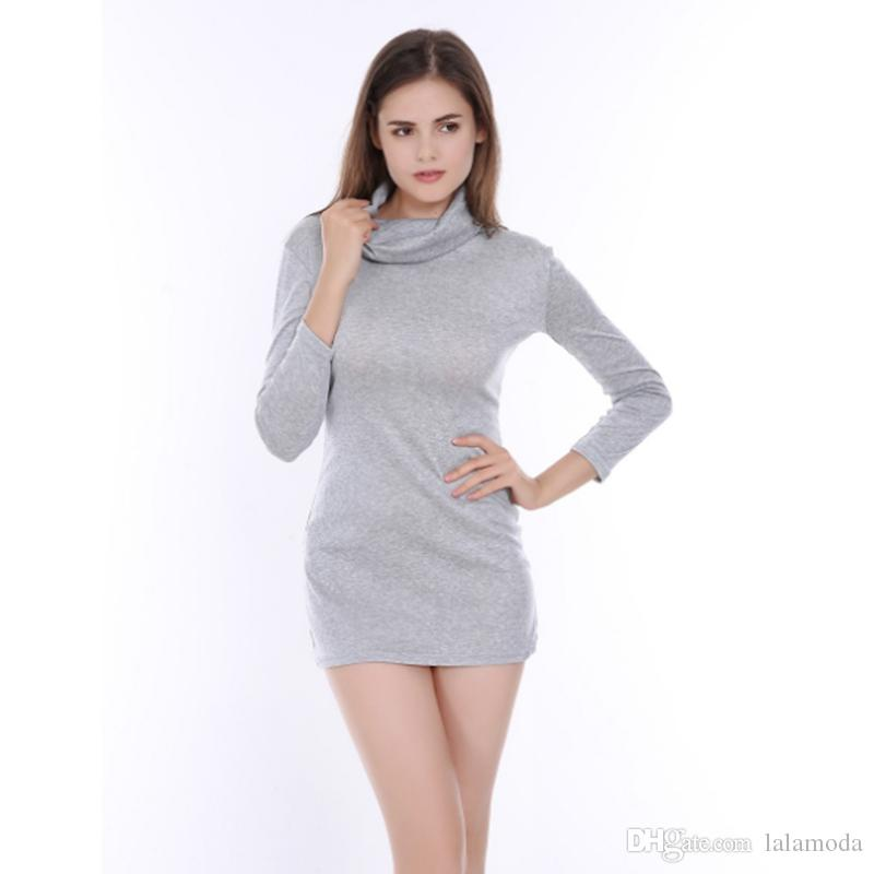 13002860808b 2019 Women Cotton Short Dresses Tight Turtle Neck Sweater Dresses For Party  To Wear Club Mini Dress From Lalamoda