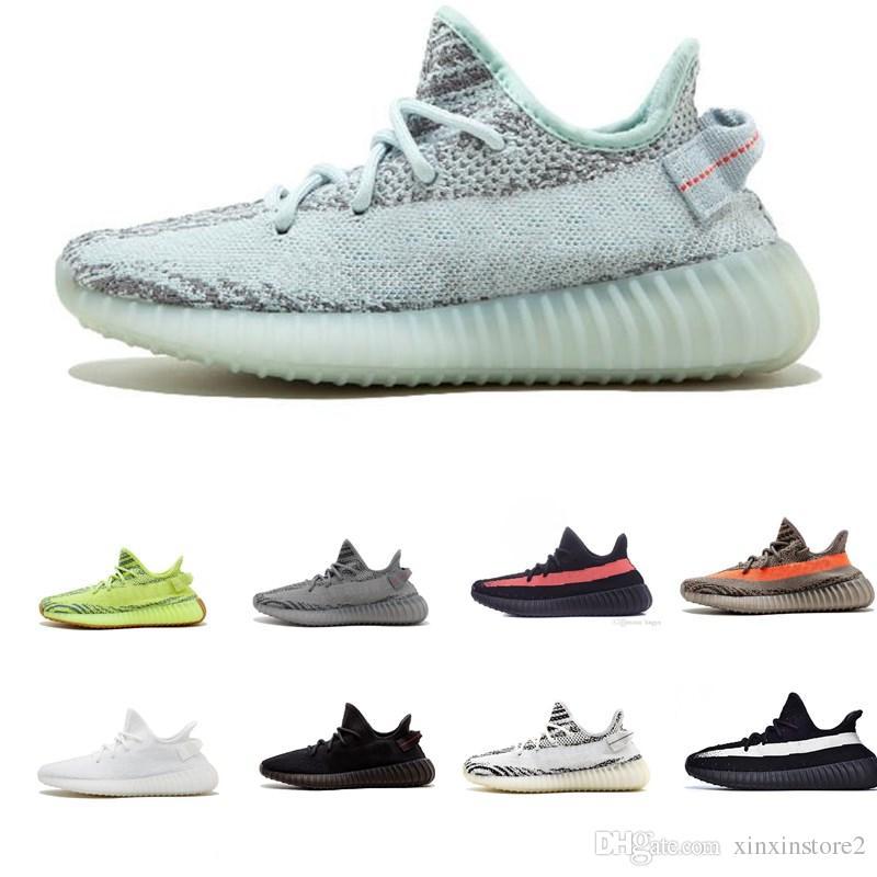 d9affea93 Compre Adidas Supreme Yeezy Boost SPLY 350 V2 Zapatos De Diseñador V2 V1  Kanye West Tinta De Raza Humana Tinte Azul Cebra Sésamo Beluga 2.0 Hombres  Blancos ...
