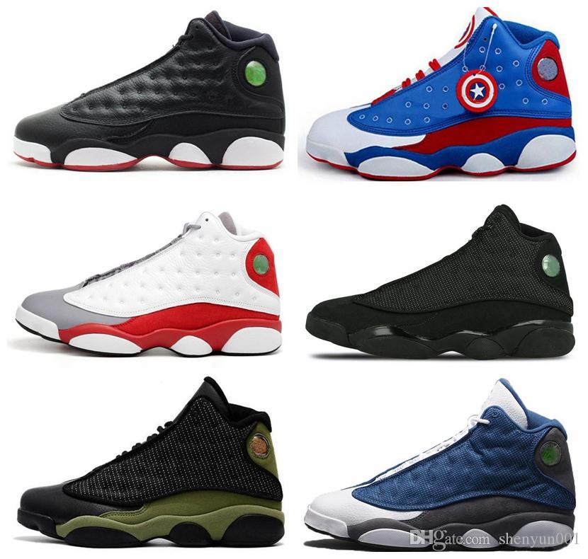 0bfbabb4ebb5 Cheap New Top Quality 13 13s Men Women Basketball Shoes Bred Black Brown  Blue White Hologram Flints Grey Red Sports Sneakers Size5.5 13 Kd  Basketball Shoes ...
