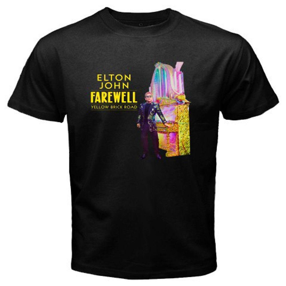 967aa12c Elton John Farewell Yellow Brick Road Men's Black T-Shirt Size S-3XL 2018  Latest Men T Shirt Fashion Fashion