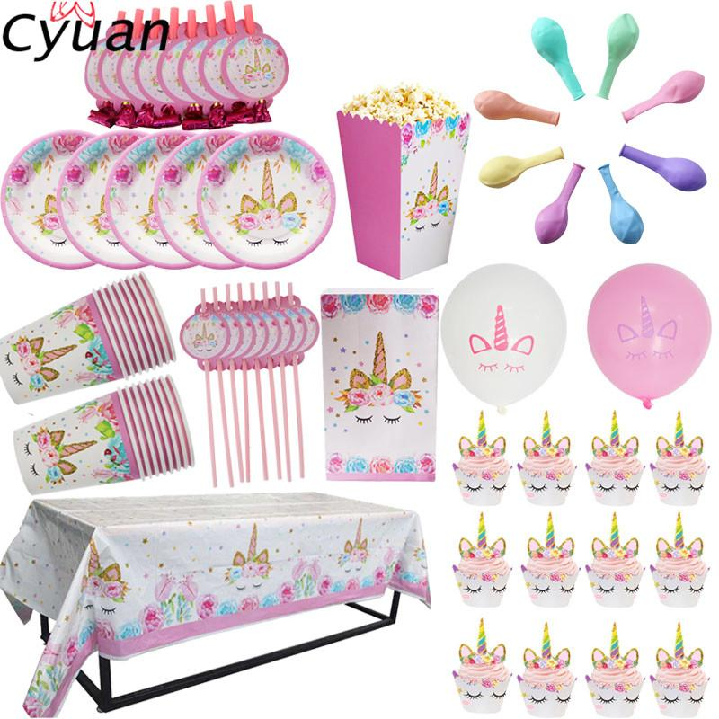 Cyuan Unicorn Party Disposable Tableware Set Kids Birthday Paper Cup Plate Hat 1st First Decor Supplies Western Decorations