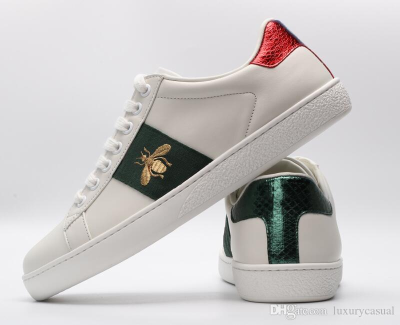 9f8d3050928 Top Quality Bees Designer Shoes Embroidered Mens and Womens ACE Genuine  Leather Designer Sneakers white Luxury Brand Casual Shoes