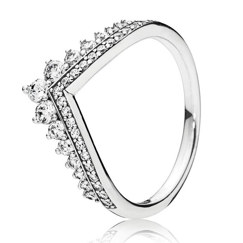 2019 Authentic 925 Sterling Silver Pan Ring Princess Wishbone With