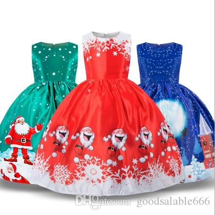 9ea1225355e0 2019 Girl S Christmas Snowflake Dress Girl X Mas Princess Formal ...