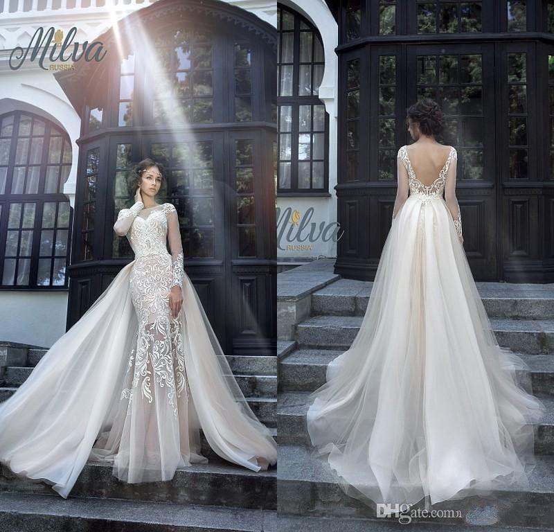 9130b0bbd82 Milva Bridal Wedding Dresses 2019 Sexy Wedding Dresses With Detachable Train  Sheer Long Sleeves Low Back Lace Mermaid Bridal Gowns Make Wedding Dress ...