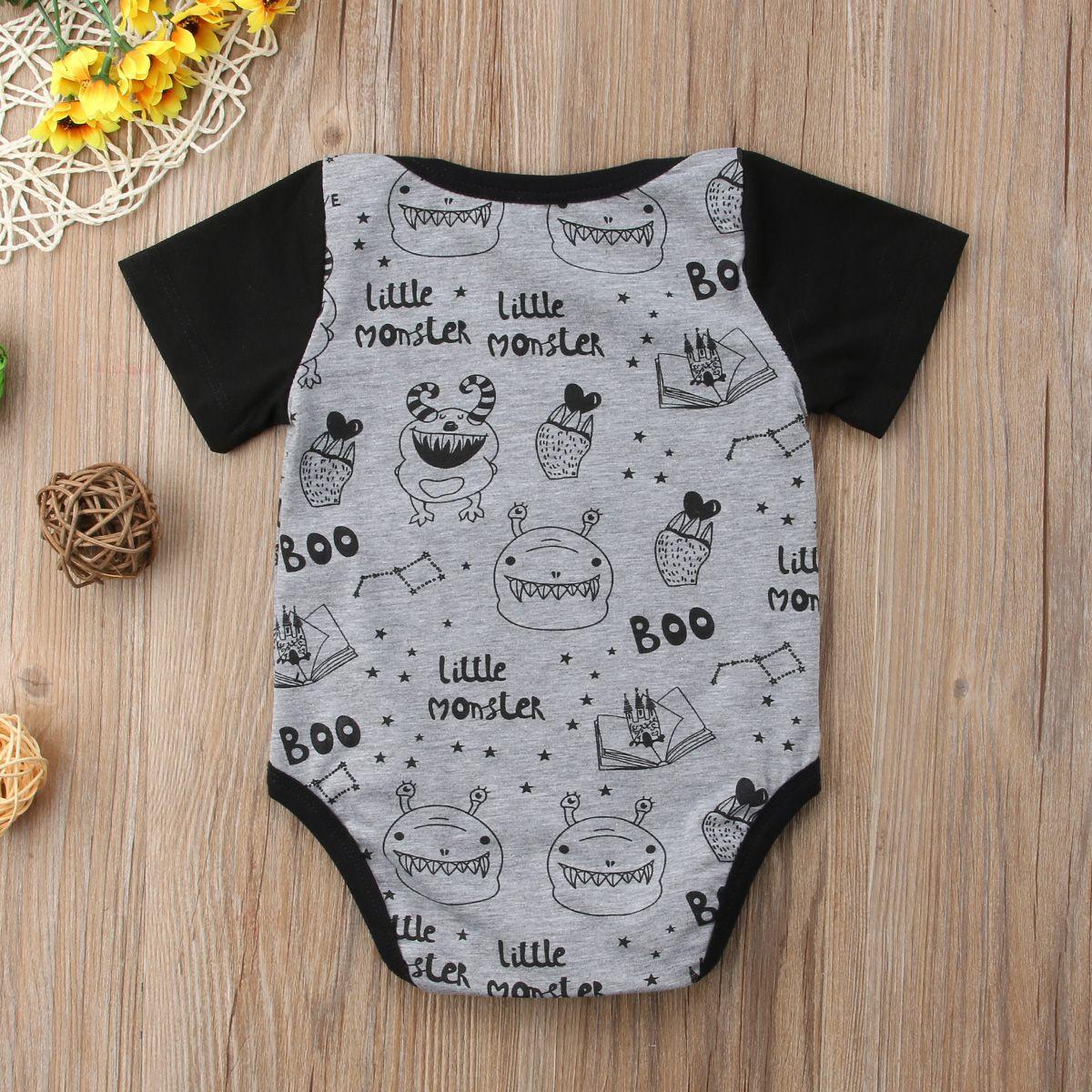 Infante recém-nascido Bebés Meninos Meninas dos desenhos animados manga curta Bodysuit Babies impressão Bodysuits Outfits roupas 0-18M