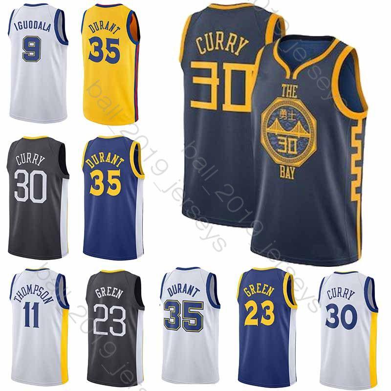 promo code b6563 426ae Warriors 30 Curry jersey 35 Durant jersey 23 Green 11 Thompson 9 lguodala  Hot Sale new basketball jersey
