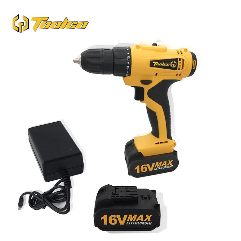 Toolgo 16V elétrica chave de fenda Cordless Household DIY Carpintaria Lithium-Ion Battery broca elétrica Power Tools